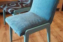my JOB - renowacja kultowych PRLowskich krzeseł 'AGA' / szlifowanie drewnianej ramy, malowanie, lakierowanie, wymiana tapicerki..