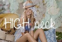 High Neck: surfer chic styling / Sweet high neck styles that are totally surfer chic! #highneck #trendy #trending #designerswimwear #bikini #onepiece #2017 #ootd #fashion #style #designer #surferchic