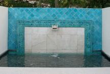 Tiled fountains / Ceramic tiles are a stunning finish for any water feature, water fountain or swimming pool. From plain tiles to decorative tiles we can create any shape and size to perfectly fit your specifications. Handmade tiles are charming, beautiful and also durable.  Our ceramic tiles are manufactured of exceptional quality and we can help you from design consultation through to installation.  / by GVega Ceramica