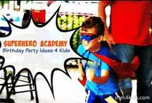 Super Hero Parties 4 Kids / Invitation, decoration, food and favor ideas for a super hero themed birthday or celebration for kids.
