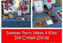 Ice Cream Social 4 Kids / Family friendly party decor,classic lawn games along with sundae bar ideas to host an ice cream social party!