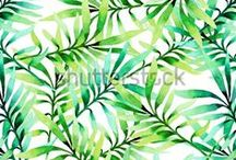 Tropical / watercolor,	tropics,	seamless, background,	texture,	pattern,	summer, exotic, trend,	leaves, design,	tropical pattern, jungle, plants, palm, orchid,