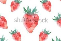 food / food, watercolor, illustration, sketch, fruits, vegetables, desserts, spices, mushrooms, berries, pattern, seamless,