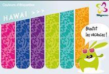Des étiquettes colorées ! / Un large choix de couleurs et de motifs est disponible pour personnaliser vos étiquettes et autocollants à votre goût
