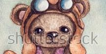 Watercolor RF 2018 / watercolor, art, teddy, painting, micro stock,
