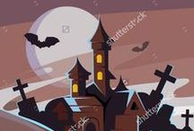 halloween party ideas / emblems, labels, badges, invitation, banners, icons and other interesting pictures and ideas to halloween party