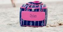 Coolers & Monogrammed Picnic Baskets / Personalized Coolers, Monogrammed Picnic Baskets, everything you need to store and keep cool your drinks, lunch or treats for a day at the beach!