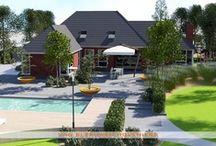 3D tuinontwerp & uitvoering / Gezinstuin met zwembad, poolhouse, terras van 2 x 1 m. tegels met grote oranje plantschalen en subtiele beplanting.  2D & 3D tuinontwerp, ontwerp & aanleg door Van Sleeuwen Hoveniers - Veghel. Meer 2D & 3D tuinontwerpen treft u op www.vansleeuwenhoveniers.nl.