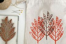 Stamps on paper & fabric