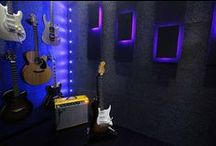 Music Studio / A home music studio, for my amazing guitarist husband.  I love the bright colours in this space.