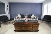 Rustic Living Rooms / A modern / rustic living room.  Ideas, inspiration and colours!