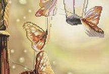 cross stitching-butterflies