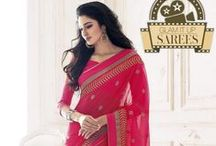 Glam it Up ! / Georgette Half & Half Sarees for every occasion!!  #MeenaBazaar #Sarees #glam