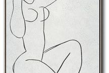 Nude Art / Hand painted nude art canvas painting, minimalist painting, great choice for neutral home and modern interiors. from CZArtDesign.com