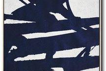 Navy Blue Minimalist Painting / Blue White Minimalist Painting from CZ ART DESIGN
