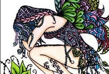 Zen Fairies and Words / Zentangle inspired artwork - fairies and words.... personalised individual artwork.