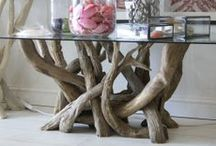 Our Beautiful Driftwood Base Tables