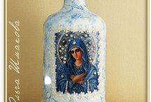 Bottle Art / Decoupage, painting, gem work on bottles and jars,