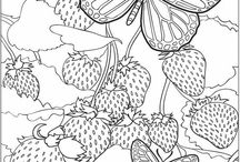 Art Drawings / Mostly line drawings of stuff I love e.g. flowers, country scenes, cottages and children.