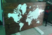 ser deco / World map on wood