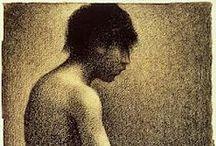 Seurat, George / Georges Pierre Seurat was een Frans kunstschilder en tekenaar. Het werk van Georges Seurat behoort tot het pointillisme. Parijs 2 dec. 1859 - 29 mrt. 1891. Citaat Seurat: Some say they see poetry in my paintings; I see only science.