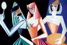 Ekster, Aleksandra / Aleksandra Alexandrovna Ekster was een Russisch schilderes. Ze maakte ook boekillustraties, ontwierp marionetten, kostuums en decors voor theater en film. Ze werd beïnvloed door het suprematisme, het kubisme en het Russisch futurisme