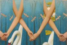Remnev, Andrey / Andrey Remnev is a Russian painter, born in 1962 in the city of Yachroma, near Moscow. He was influenced by the old Russian painters of the 15th, 17th and 18th centuries as well as Russian medieval icon painting. He has however, developed his very own unique, fairy-tale like, surreal style and he uses the old Renaissance recipes to make his own hand-made colors and natural pigments mixed with egg yolk.