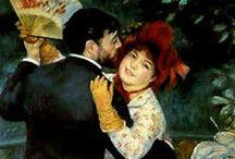 Renoir, Auguste / Pierre-Auguste Renoir (Limoges, 25 februari 1841 – Cagnes-sur-Mer, 3 december 1919) was een Frans impressionistisch kunstschilder. In de jaren tachtig van de 19e eeuw liet hij de impressionistische stijl achter zich, en begon een zoektocht naar een vastere vorm en compositie. Hij werkte heel precies en nauwgezet, met een koeler en gladder kleurgebruik. Later keerde Renoir terug naar de warme kleuren en de vrijere penseelvoering. Hij schilderde veel naakten in warm zonlicht.