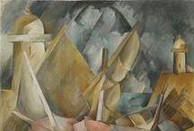 Braque , Georges / Georges Braque (Argenteuil, 13 mei 1882 - Parijs, 31 augustus 1963) was een Franse kunstschilder, tekenaar, beeldhouwer en maker van collages. Hij was mede toonaangevend voor nieuwe richtingen in de moderne 20ste-eeuwse kunst. Samen met de Spaanse kunstschilder Pablo Picasso was hij de grondlegger van het kubisme. Braque was ook actief als sieraadontwerper.