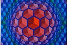 Vasarely, Victor / Victor Vasarely (Pécs, 9 april 1908 – Parijs, 15 maart 1997) was een Frans-Hongaars kunstenaar en een van de belangrijkste vertegenwoordigers van de op-art.Vasarely werd een van de leidende figuren van de geometrisch abstracte schilderkunst, optical art genoemd. Gewoonlijk werkte Vasarely met sterke contrasten, aanvankelijk in zwart-wit, later ook in kleur. Het effect van zijn lijnen en de manier waarop hij ze gebruikt is dat de indruk ontstaat dat alles in het beeldvlak begint te vibreren.