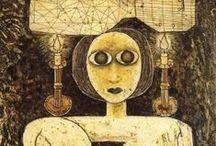Brauner, Victor / Victor Brauner (Piatra Neamț, 15 juni 1903 - Parijs, 12 maart 1966) was een Joods Roemeens surrealistisch kunstschilder.  In de periode van 1919-1921 studeerde hij aan de Nationale school voor Schone Kunsten in Boekarest.  Hij begon met het schilderen van landschappen op de manier van Cézanne. Dan ging hij, zoals hij zelf getuigde, door verschillende fases. Hij schilderde volgens het dadaïsme, het expressionisme en hij heeft ook abstract geschilderd