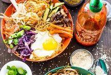Asian food / spring rolls, pho, chicken, meat balls