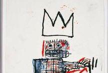 Basquiat, Jean-Michel / Jean-Michel Basquiat (New York City, 22 december 1960 –  12 augustus 1988 NY) was een Amerikaans neo-expressionistisch (en van oorsprong graffiti)-kunstenaar van Haïtiaanse en Porto Ricaanse afkomst. Hij maakte  vanaf begin jaren tachtig zeer 'explosieve' werken op doek. Verguisd en geliefd in de kunstwereld is Basquiat op zeer jonge leeftijd door een overdosis aan zijn einde gekomen