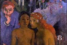 Gauguin, Paul / Eugène Henri Paul Gauguin (Parijs, 7 juni 1848 – Atuona op de Marquesaseilanden, 9 mei 1903) was een Franse kunstschilder. Zijn werk wordt meestal gekenschetst als postimpressionistisch, dat van na 1891 als symbolistisch. Gauguin woonde, op initiatief van Theo van Gogh, de broer van Vincent, twee maanden samen met Vincent van Gogh, in Arles om te schilderen en van elkaar te leren. Het was geen gelukkige periode. Gauguin kreeg depressieve buien en deed een zelfmoordpoging.