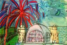 Dufy, Raoul / Raoul Dufy (Le Havre, 3 juni 1877 - Forcalquier, 23 maart 1953), Frans fauvistisch kunstschilder, illustrator, stofontwerper en decoratieschilder. Tussen de jaren 1905 en 1909 heeft het werk van Dufy een sterk fauvistische invloed. Dit veranderde echter nadat hij in aanraking is gekomen met het werk van Cézanne. Hij ontwikkelde steeds meer een eigen stijl die na een flirt met het kubisme vaste vormen aannam vanaf 1920. Deze stijl wordt over het algemeen getypeerd als stenografisch en kleurrijk.