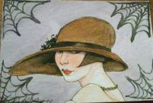 Amy Abshier Reyes / Amy Abshier Reyes's watercolour portraits are amazing in their  seeming simplicity. Most of her work on this board is in small scale.  She often paints women of another era such as Art Deco, Edwardian...