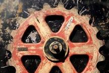 Antique Industrial Wood Foundry Gears / Antique and vintage wooden foundry patterns.
