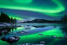 """Aurora Borealis - Northern lights / ❤️ What an Incredible beautiful natural phenomenon.  An aurora is a natural light display in the sky (from the Latin word aurora, """"sunrise"""" or the Roman goddess of dawn), predominantly seen in the high latitude (Arctic and Antarctic) regions. Auroras are caused by charged particles, mainly electrons and protons, entering the atmosphere from above causing ionisation and excitation of atmospheric constituents, and consequent optical emissions. / by Precious - Perlereden"""