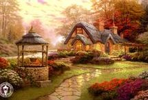 THOMAS KINKADE / One of the most gifted and highly talent artist I know. mr. Thomas  Kinkade  brings a whole new meaning to his painting as they look like they step right out at you from the painting. Some paintings look so real you might think you could open the door and just walk right on in. / by dale ryan