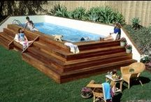 Pool, Porch, Path and Patio Inspiration / Do-it-yourself ideas to add more fun to your pool experience on a budget! #swimming pool  # patio # outdoor kitchen  # water fountains #fire pits