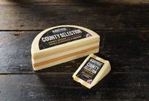County Selection Cheese by Windyridge Cheese Ltd / County Selection Cheese - Layered Cheddar Cheese, Red Leicester Cheese, Double Gloucester Cheese and Cheshire Cheese