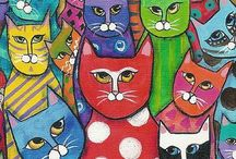 Art: Cat / Art with cats. / by Angie Rowe