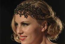 Jo Barnes glamorous gold tone bridal headdresses / Beautiful bridal headdresses with golden tone Swarovski crystals and pearls