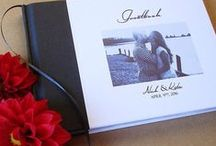 Custom Wedding Guest Books / Over the years, our customers have come up with so many wonderful designs for their custom wedding guest books. They design the covers, we hand bind them. Folks can put their own photos, wedding logos, text, photos...dream away.