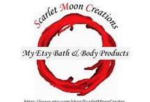 My Etsy Bath & Body Products / Repinned from my business account Scarlet Moon Creations. Here's a glimpse at what I'm selling. All natural body scrubs, massage oils and bath salts. For more details and a behind the scenes look check out www.pinterest.com/scarletmcreates.