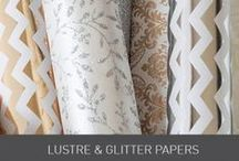 Luster and Glitter Papers / These silver and gold luster papers add glitz and glam to your wedding invitation and wedding designs. Available in stripped, chevron, floral and regal designs or all out glitter, there will be a design perfect for your theme.  www.imaginediy.co.uk