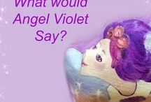 "Angel Violet's Contest / What would Angel Violet say? Angel Violet with her happy heart loves February, the month of love. She wanted you to share your ""love"" by posting what you or your kids think Angel Violet would say.  Here's a picture of Angel Violet. Does she make you smile? Good!  Angel Violet wants her magic to help kids when they feel yucky or sad. She has a picture book, doll, bubbles, pencils and stickers that all make kids feel happy."