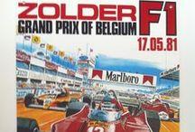 Zolder Grand Prix Formula 1  / Posters of the 10 Grand Prix Formula 1 in Zolder (extra: poster first race @ Zolder)