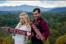 Elope on a Mountaintop Vineyard / Elopements and weddings performed atop a beautiful mountaintop vineyard with stunning views of Asheville with the many ridges and valleys in between.
