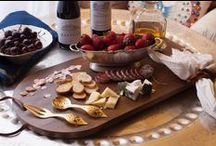 Cheese Board / Wood board styling ideas for a stylish edge at your next wine + cheese night. These presentations are easy to do at home. We've linked a few of our favorite wooden boards from our EC Home Store for easy shopping.
